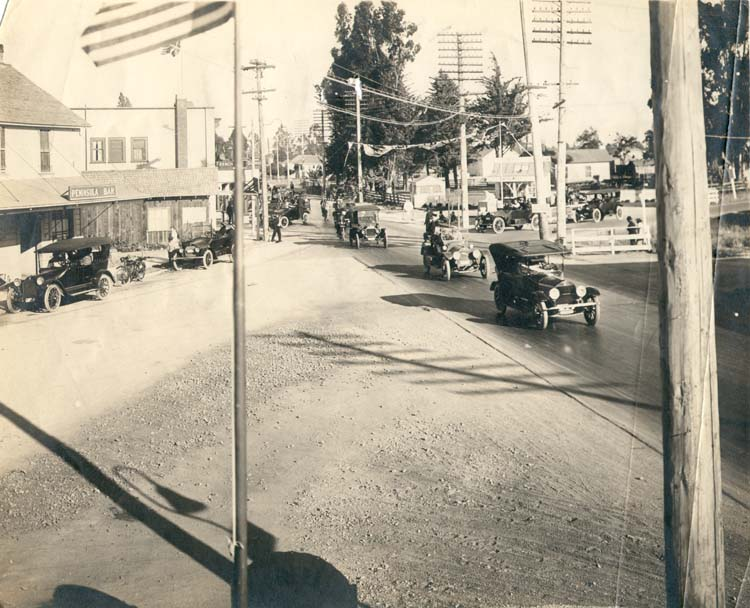 Five Points intersection 1918 Redwood City Local History Room