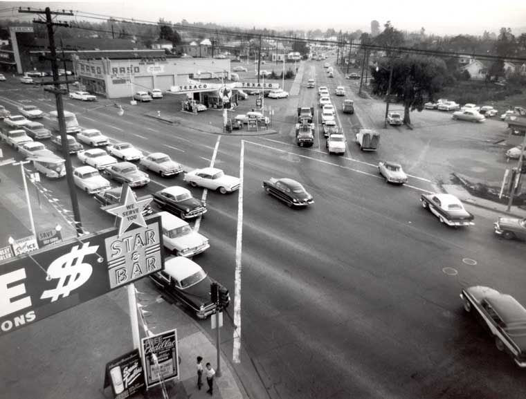 Five Points intersection 1960 Redwood City Local History Room