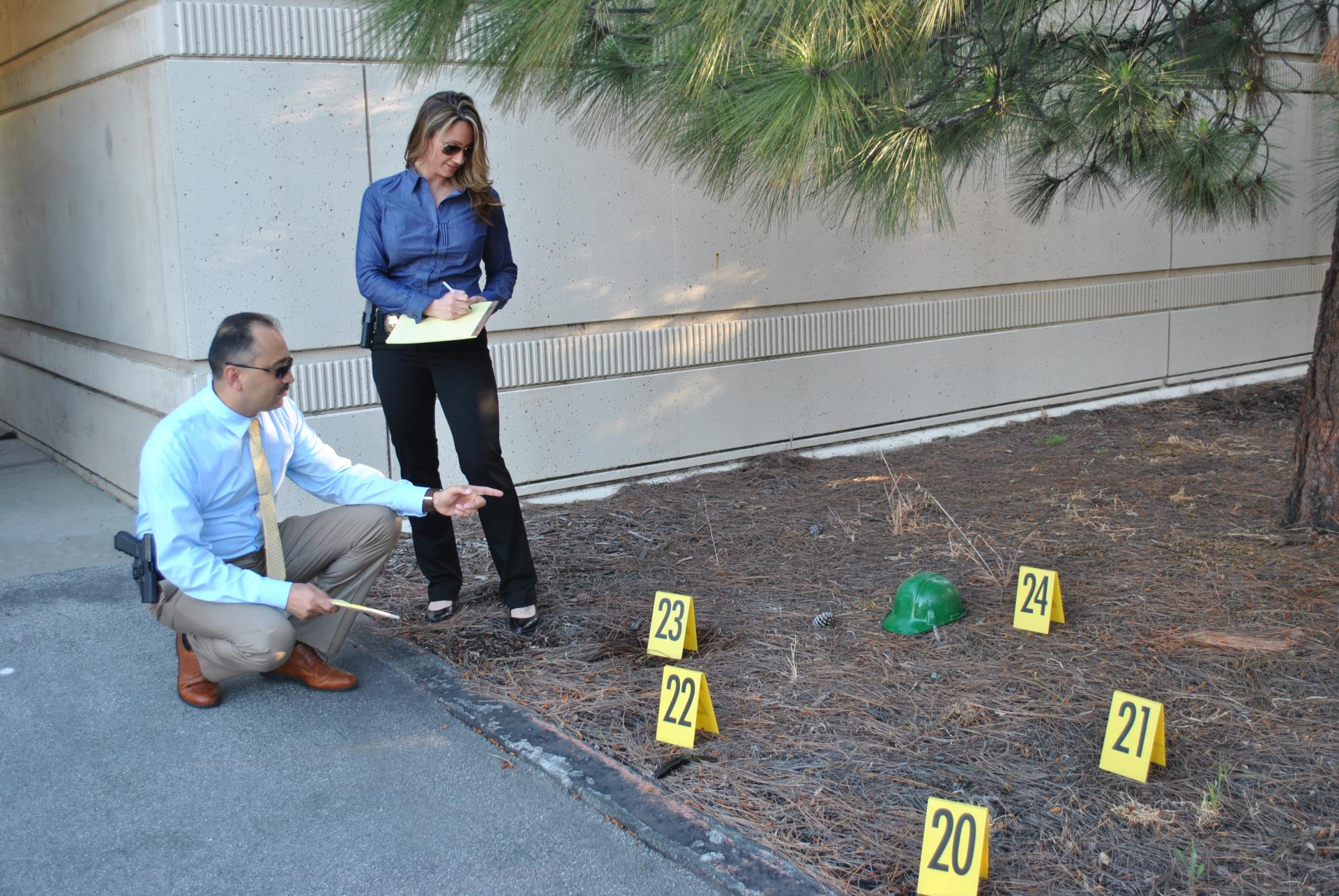 Crime Scene with evidence markers
