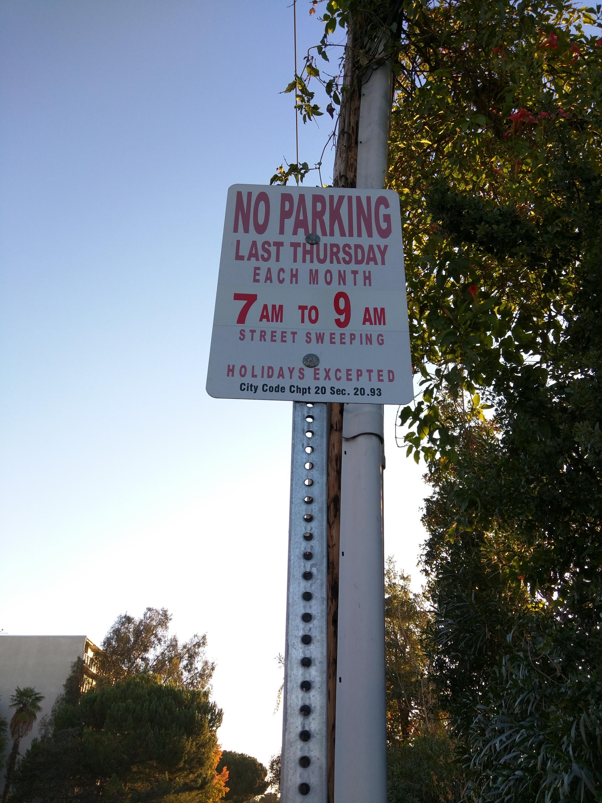 Street Cleaning Enforced Parking