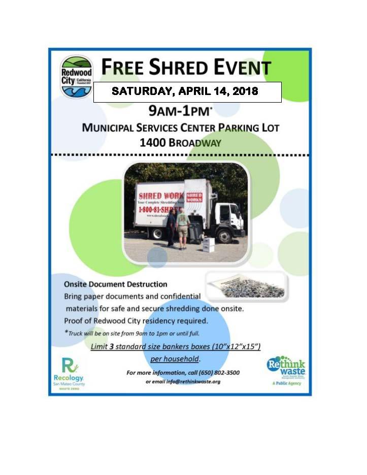 FREE! Shred Event | City Events Calendar | City of Redwood City